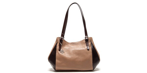 Dámska dvojfarebná kožená kabelka na zips Isabella Rhea