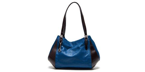 Dámska modro-hnedá kožená kabelka na zip Isabella Rhea