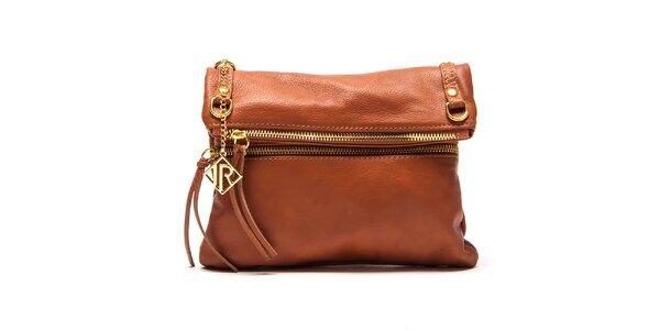 Dámska svetlo hnedá kabelka so zlatými zipsami Isabella Rhea