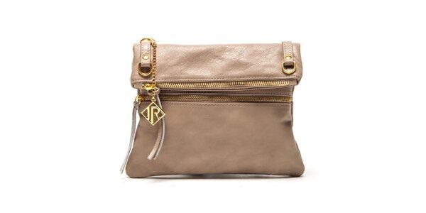 Dámska béžová kabelka so zlatými zipsami Isabella Rhea