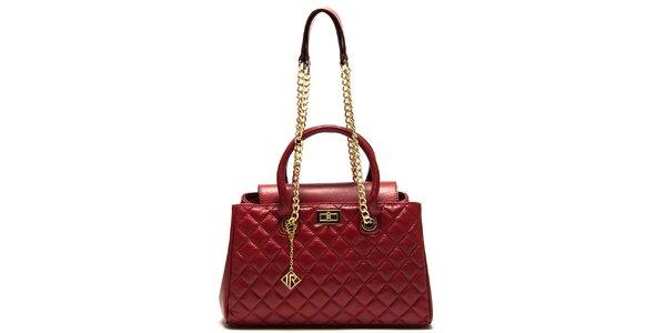 Dámska červená kabelka s prešívaním Isabella Rhea