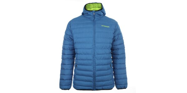Pánska modrá prešívaná bunda s kapucňou Fundango
