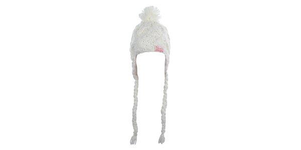 Dámska biela pletená čiapka s brmbolcom Fundango