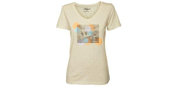 Dámske krémové tričko Fundango s potlačou