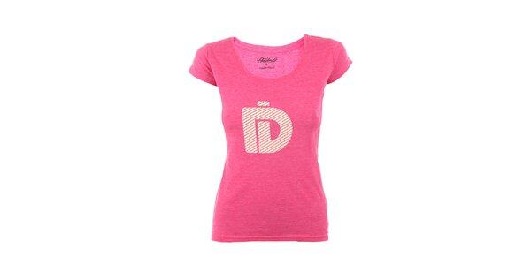 Dámske ružové tričko Fundango s krémovou potlačou