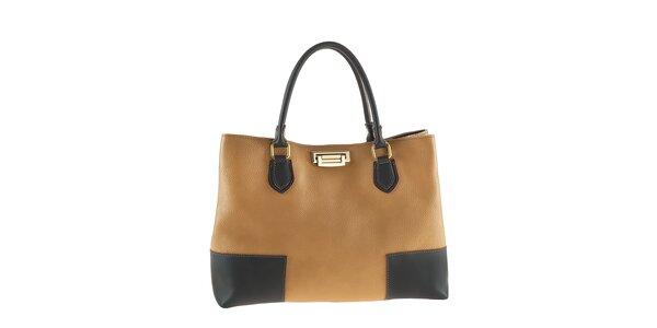 Dámska svetlo hnedá kabelka s čiernymi prvkami a zlatým zapínaním Tina Panicucci