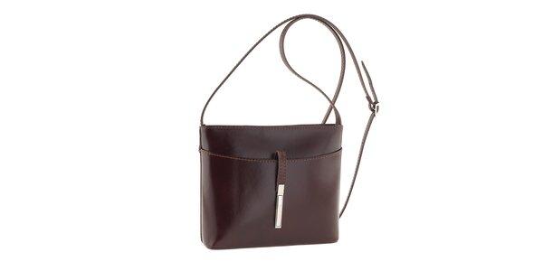 Dámska tmavo hnedá kožená kabelka cez rameno Tina Panicucci