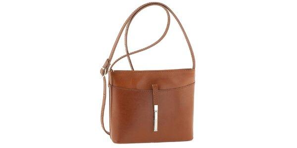 Dámska hnedá kožená kabelka cez rameno Tina Panicucci