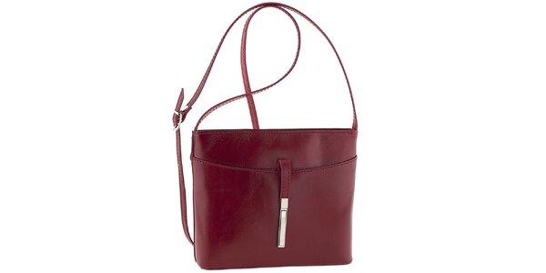 Dámska červená kožená kabelka cez rameno Tina Panicucci