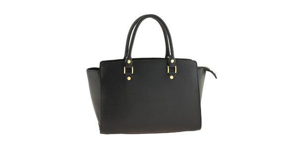 Dámska čierna kožená kabelka s pevnými ušami Tina Panicucci