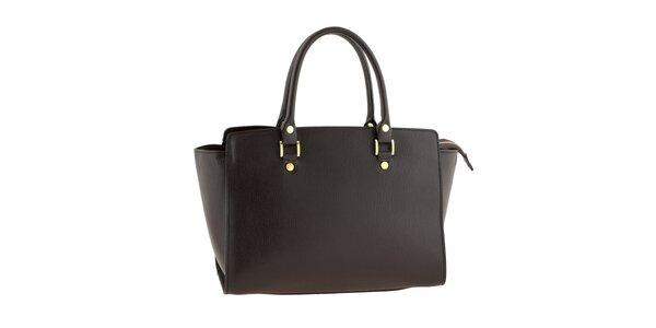 Dámska tmavo hnedá kožená kabelka s pevnými ušami Tina Panicucci