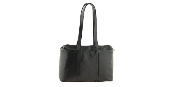 Dámska čierna kožená kabelka na zips Tina Panicucci