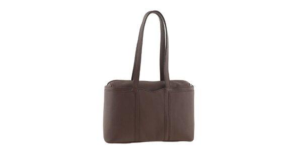 Dámska hnedá kožená kabelka na zips Tina Panicucci
