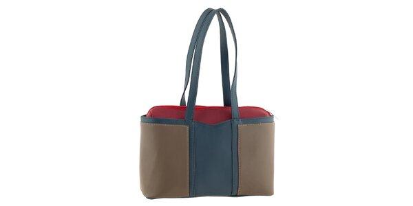 Dámska trojfarebná kožená kabelka na zips Tina Panicucci
