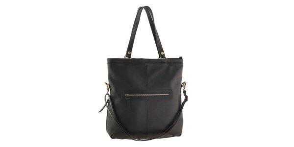 Dámska čierna kabelka so zipsovou aplikáciou Tina Panicucci