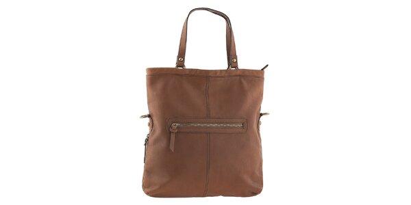 Dámska hnedá kabelka so zipsovou aplikáciou Tina Panicucci