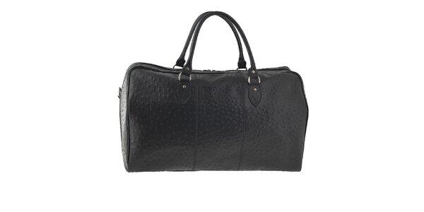 Dámska čierna cestovná taška s motívom pštrosej kože Tina Panicucci