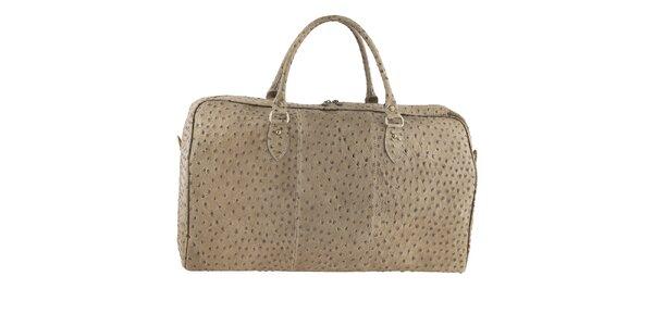 Dámska cestovná taška s motívom pštrosej kože Tina Panicucci