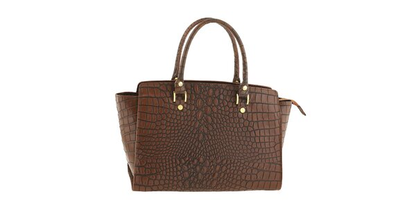 Dámska hnedá kožená kabelka so vzorom krokodílej kože Tina Panicucci