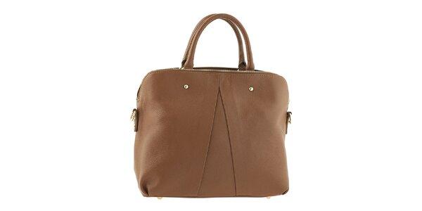 Dámska svetlo hnedá kožená kabelka Tina Panicucci