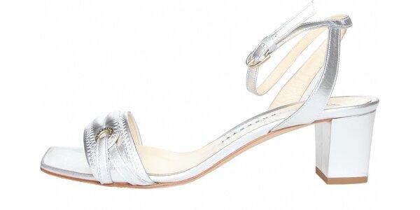 Dámske strieborné pásikové topánky Fratelli Rossetti
