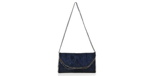 Dámska modrá hadia listová kabelka s retiazkami Giorgio di Mare