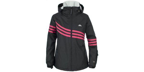 Dámska čierna lyžiarska bunda Trespass s ružovými pruhmi