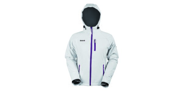 Dámska softshellová biela bunda s fialovým zipsom Izas