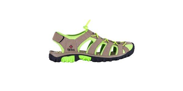 Hnedé outdoorové sandále so zelenými prvkami Izas
