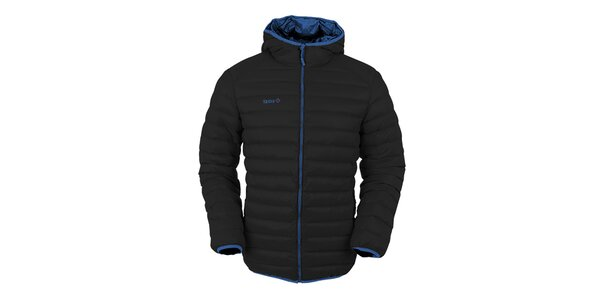 Pánska čierna páperová bunda s kapucňou Izas