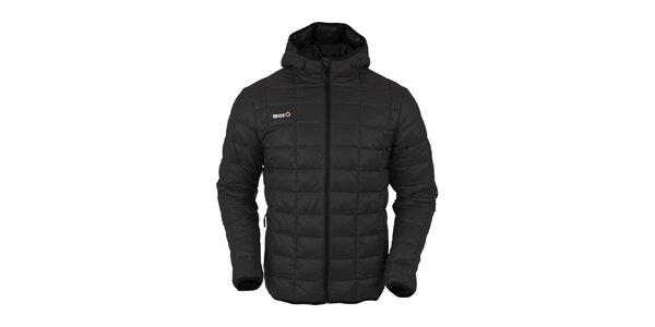 Pánska čierna prešívaná bunda s čiernym zipsom Izas