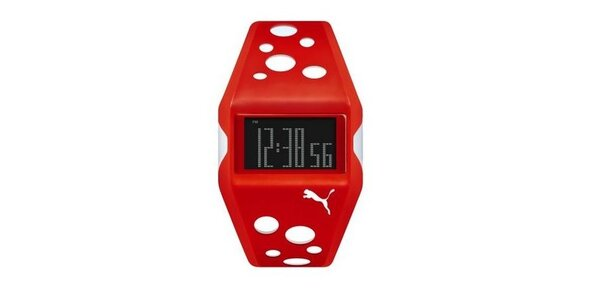 Unisex digitálne hodinky Puma Active Red/White