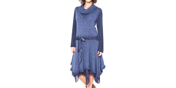 Dámske modré asymetrické šaty so zaväzovaním v páse Mademoiselle Agathe