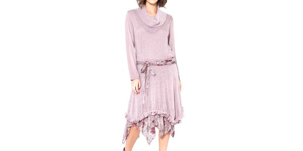 Dámske ružové asymetrické šaty so zaväzovaním v páse Mademoiselle Agathe