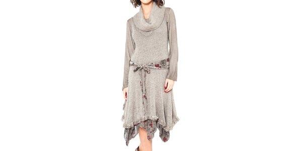 Dámske šedobéžové šaty so zaväzovaním v páse Mademoiselle Agathe