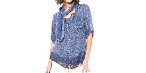 Dámsky modrý chlpatý svetrík s tričkom a šálom Mademoiselle Agathe