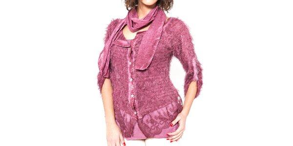Dámsky ružový chlpatý svetrík s tričkom a šálom Mademoiselle Agathe