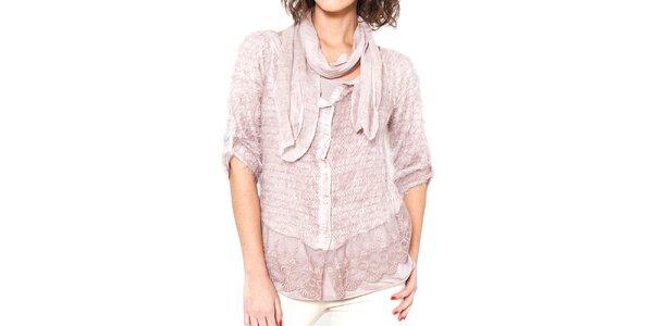 Dámsky svetlo ružový chlpatý svetrík s tričkom a šálom Mademoiselle Agathe