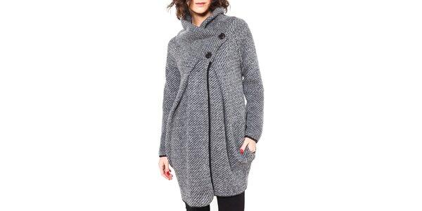 Dámsky šedý vlnený kabátik s gombíkmi Mademoiselle Agathe
