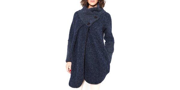Dámsky tmavo modrý vlnený kabátik s gombíkmi Mademoiselle Agathe