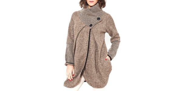 Dámsky šedohnedý vlnený kabátik s gombíkmi Mademoiselle Agathe