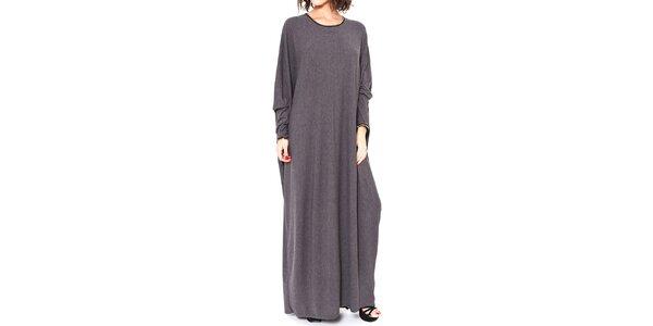 Dámske šedé dlhé oversized šaty Mademoiselle Agathe