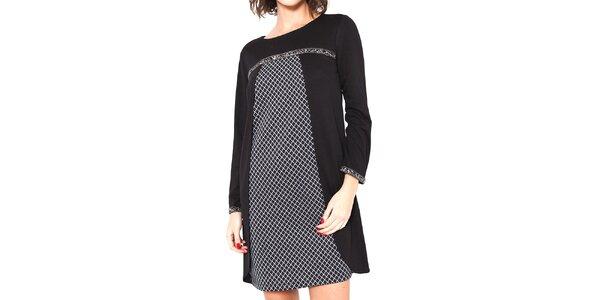 Dámske čierne šaty s dlhým rukávom Mademoiselle Agathe