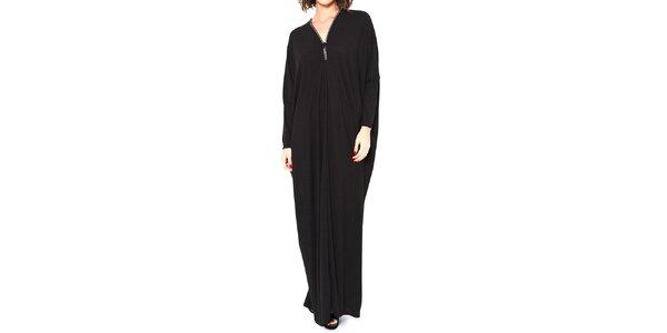 Dámske čierne dlhé oversized šaty so zipsom Mademoiselle Agathe