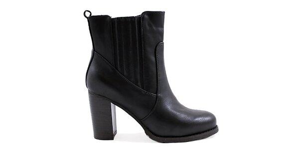 Dámske čierne členkové topánky na opätku Ctogo Gogo