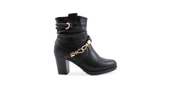 Dámske čierne členkové topánky so zlatými komponentmi Ctogo Gogo