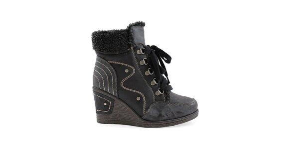 Dámske čierne topánky na kline so šnurovaním Ctogo Gogo