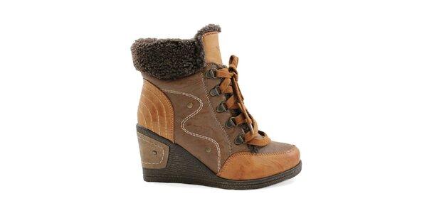 Dámske hnedé topánky na kline so šnurovaním Ctogo Gogo