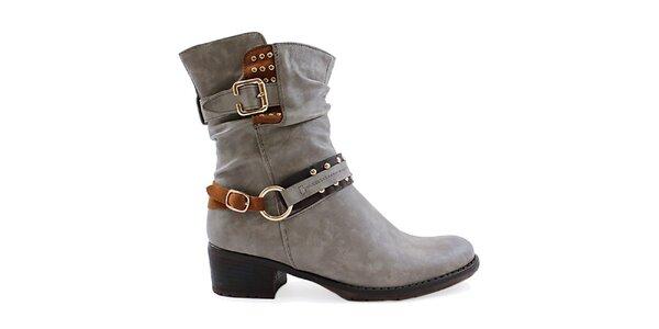 Dámske šedé topánky s ozdobnými remienkami Ctogo Gogo