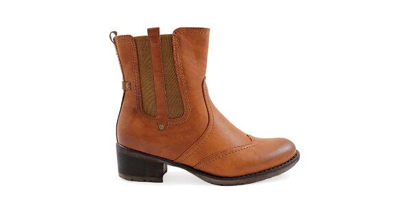 Dámske hnedé topánky s pružnou vsadkou Ctogo Gogo